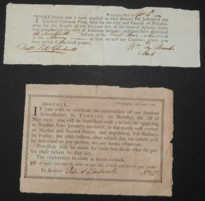 1784 Tammany Ticket and 1780 Philadelphia Goal Notice to Peter S. Glentworth